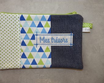 "Flat clutch ""Treasures"" dominant recycled Denim Blue/Green"