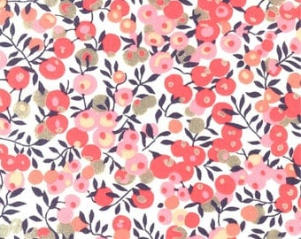 Printed fabric Liberty Liberty Wiltshire sweet pea pattern cotton candy pink and gray