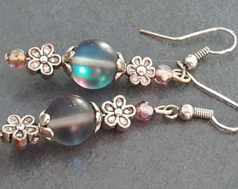 Earrings glass beads opaque and flowers
