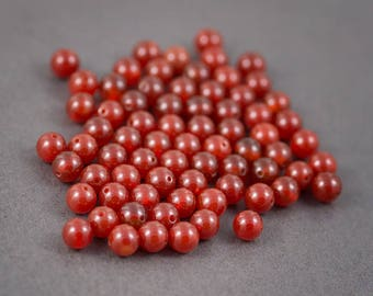 Set of 10 pcs - round beads • carnelians, agates • orange • 8mm