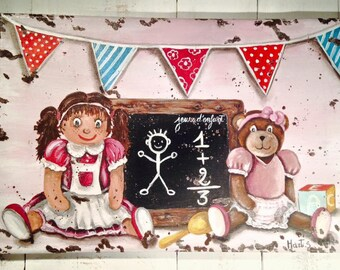 "Painting on canvas ""the doll and Teddy vintage"" old patina"