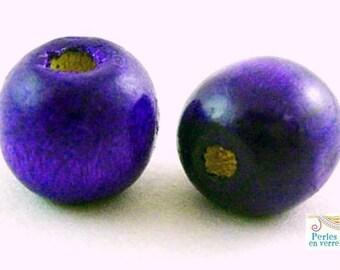 wooden purple 9x10mm (pb15) 30 beads
