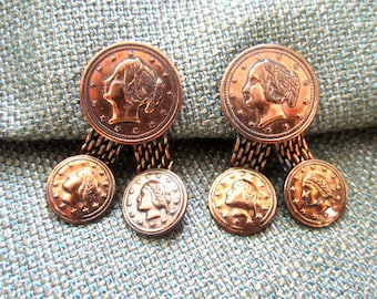 50s 60s Coins Renoir Like Copper Tone Metal Clip On Earrings Vintage Dangle