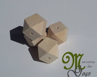 Wooden Hexagon bead natural 3 * 3 cm.