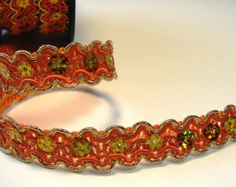 Ribbon, lace flowers, 15 mm, orange and gold sequins, sold by the yard.