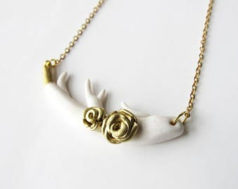 Necklace brown white and gold deer with polymer clay
