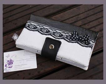 "checkbook, ""beautiful black and white"" card holder"