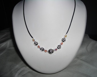 Lampwork and Swarovski Pearl Necklace