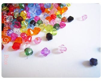 100 beads/faceted bicone acrylic 4mm - variegated
