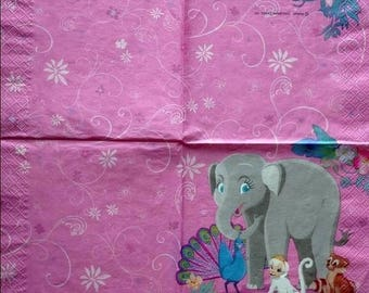 Set of 2 napkins napkins Elephant animal Barbie U.S.A.