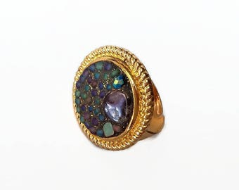 Ring purple green mosaic