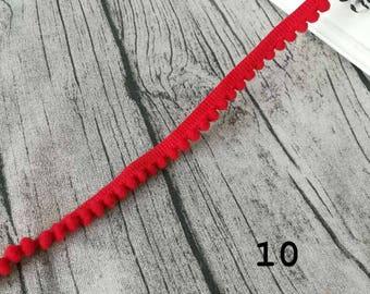 2 x ribbons/trims teeth red pom poms 10 meters