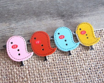 5 x 26x24MM multicolor wooden bird shaped buttons