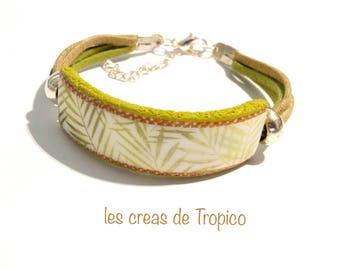 adjustable bracelet in polymer clay (fimo, premo cernit) Brown green foliage