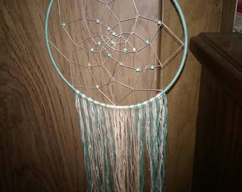 White and Turquoise Dreamcatcher with Beads