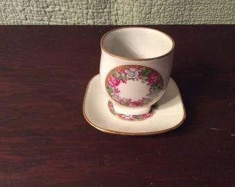 Vintage Limoges France Porcelain Cup and Saucer - Flowers