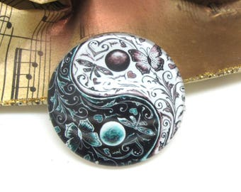 2 cabochons 20 mm glass Yin Yang white and Black 2-20 mm