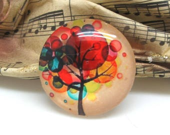 2 cabochons 10 mm glass colorful tree - 10 mm