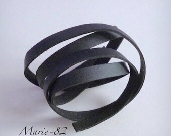 Strappy flat 10 mm / 95 CM - leather black synthetic