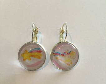 Earrings sleepers cabochons unicorns
