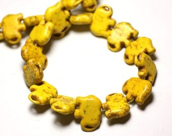 Wire 27pc approx 39cm - synthesis Elephant 19mm yellow Turquoise stone beads