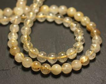 Wire 39cm env - stone beads - Golden rutilated Quartz 61pc balls 6-7mm