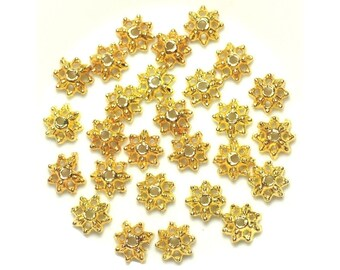 Bag of 20pc - beads caps Golden Metal - 9 x 3 mm 4558550037961