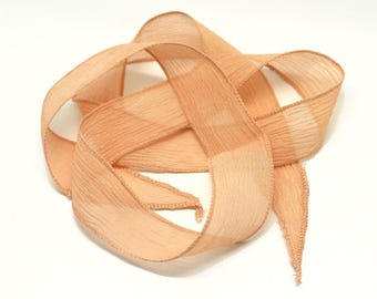 1pc - dyed silk ribbon necklace to 85 x 2.5 cm Rose Orange salmon (ref SOIE114) 4558550003317