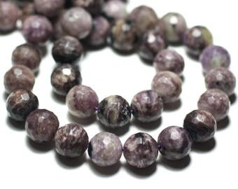 4pc - stone beads - Charoite faceted balls 10mm Violet Purple black - 8741140022195