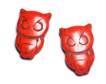 4pc - beads Turquoise synthetic OWL OWL Orange - 8741140003491 30x20mm