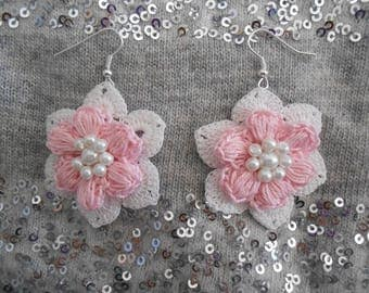 rose crochet flower earrings
