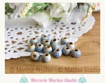 10 6x5mm ceramic blue beads