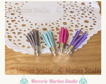 4 tassels tip steel stainless color gray, blue, fuschia and purple