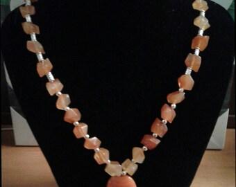"""necklace """"Amber"""" orange and orange beads"""
