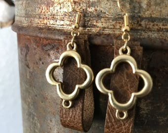 Leather earrings-brown leather loop earrings with gold charm