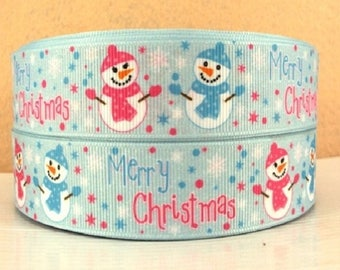 Printed grosgrain Ribbon * 25 mm * snowman Merry Christmas blue - sold by the yard