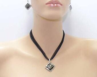 Silver and black enamel parure