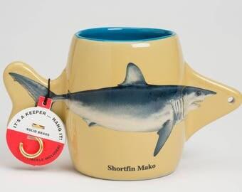 Shark mug, shark coffee mug, coolest fishing mug, coolest fishing coffee mug ever