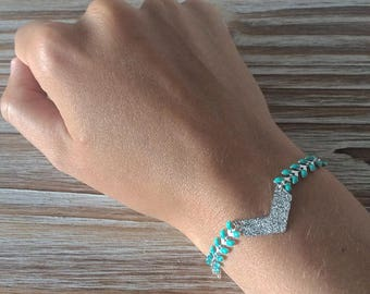 Ethnic turquoise and silver charm bracelet with chevron and herringbone chain