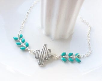 Bracelet silver cactus and turquoise ear chain