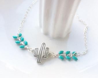 Bracelet cactus argenté et chaine épi turquoise