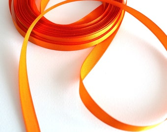 ORANGE satin ribbon 2 M 10 mm wide