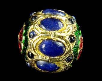 Vintage genuine royal Blue Lapis Lazuli Stone Flower Enamel Gypsy Tribal Bead