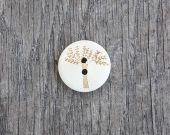 Set of 5 wooden buttons, severe, tree, 20mm / / ID N60
