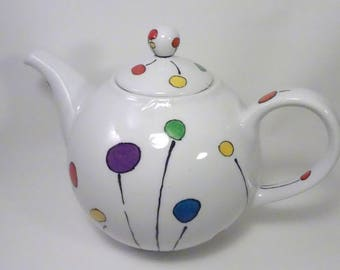 Multicolored porcelain teapot