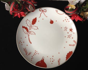 Christmas red and white plate personalized