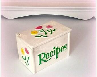 S-A-L-E 70s Recipe Box - White with Pretty Pink & Yellow Blooms - Wooden Recipe Box - Shabby Chic Kitchen