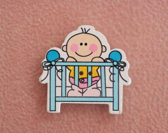 button wood baby blue bed