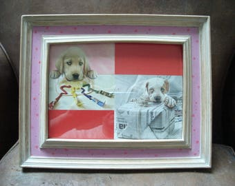 vintage pink frame wood dog