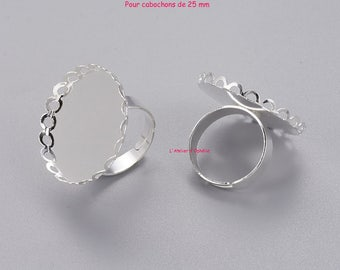 Set of 5 rings for 25 mm cabochons